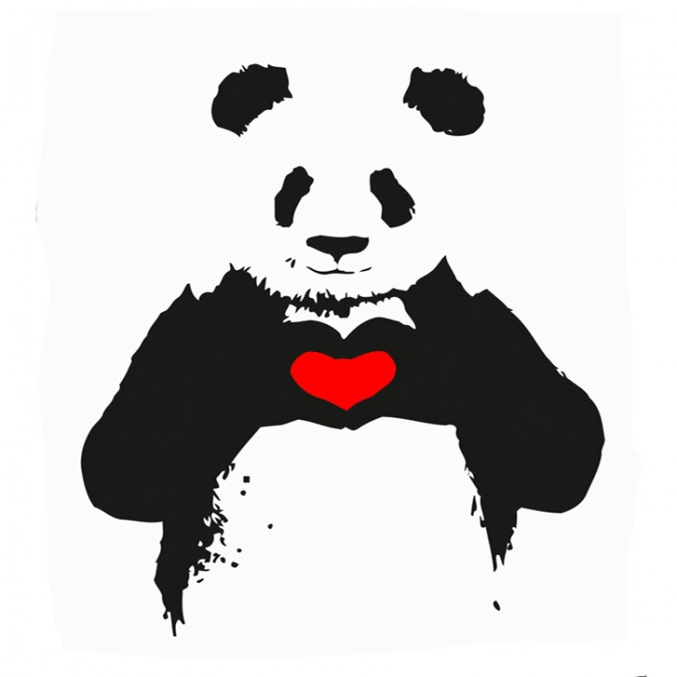 Banksy style bear showing a heart design with his paws.